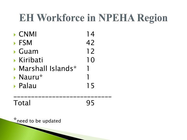 EH Workforce in NPEHA Region