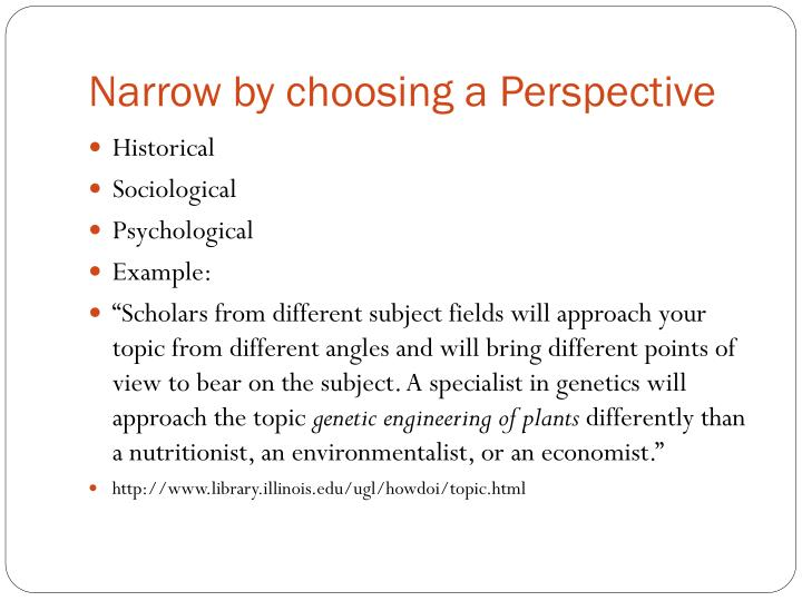 Narrow by choosing a Perspective