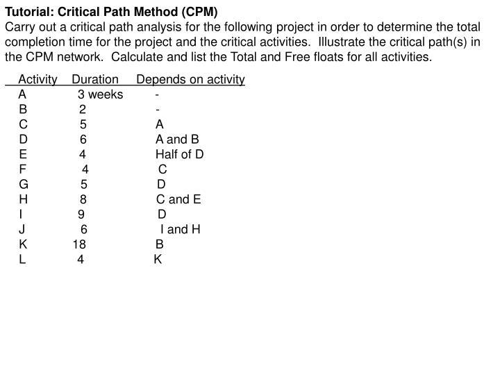 Tutorial: Critical Path Method (CPM)