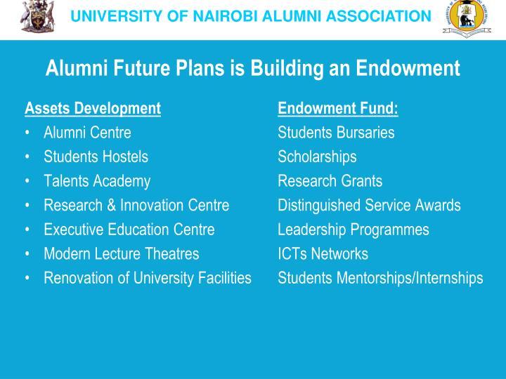Alumni Future Plans is Building an Endowment