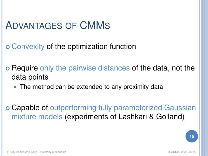 Advantages of CMMs