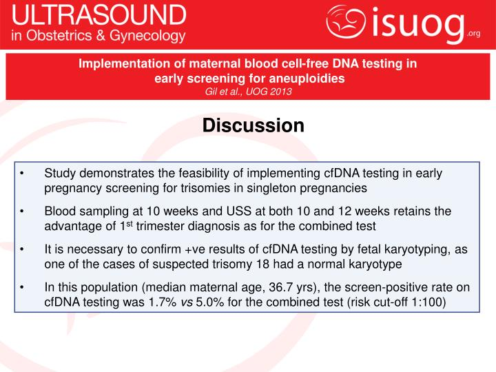 Implementation of maternal blood cell-free DNA testing