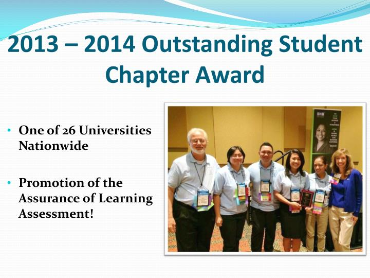 2013 – 2014 Outstanding Student Chapter Award