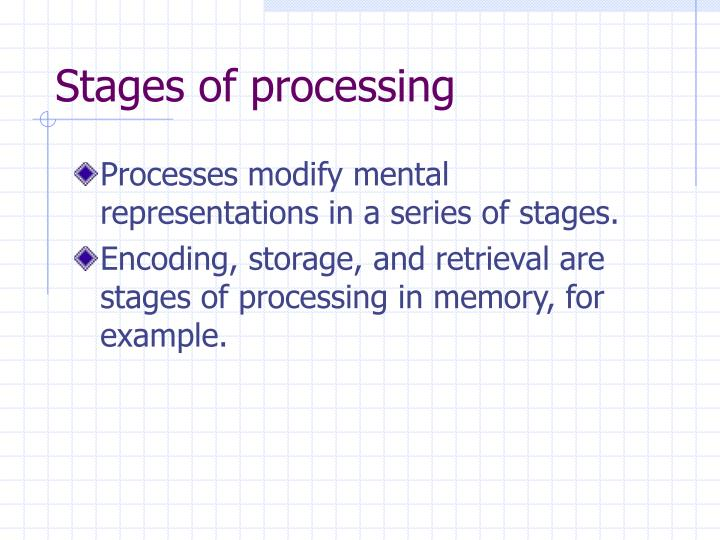 Stages of processing