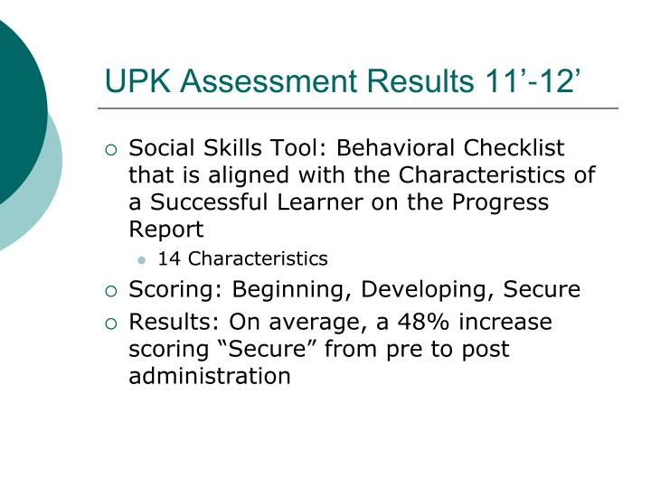 UPK Assessment Results 11'-12'
