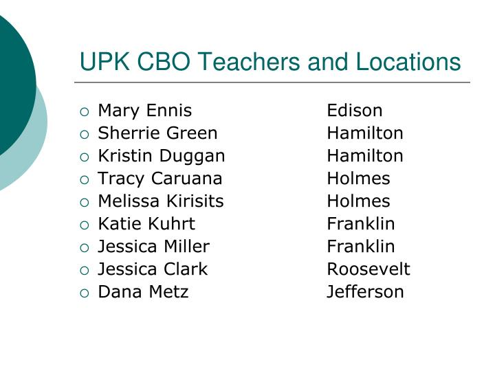 Upk cbo teachers and locations