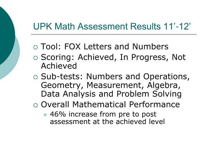 UPK Math Assessment Results 11'-12'