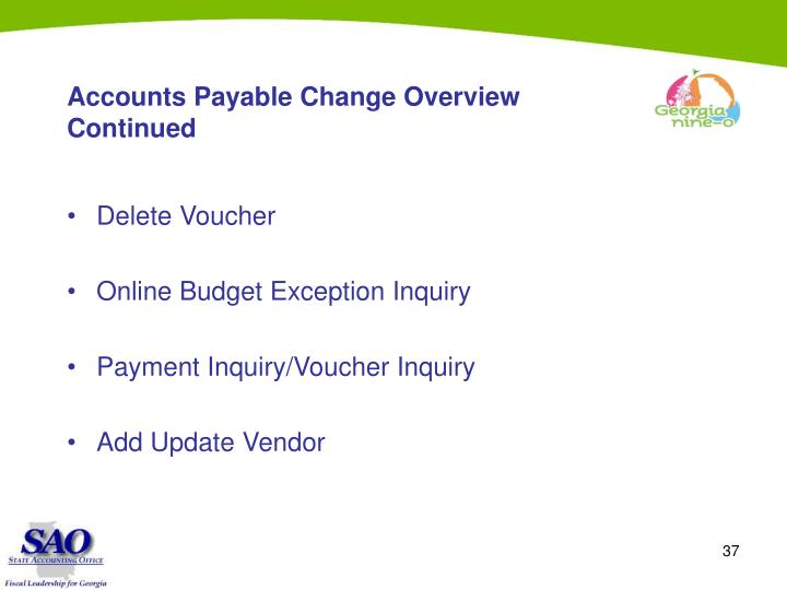 Accounts Payable Change Overview