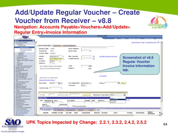 Add/Update Regular Voucher – Create Voucher from Receiver – v8.8