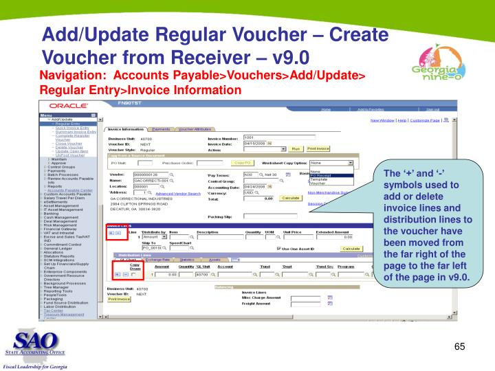 Add/Update Regular Voucher – Create Voucher from Receiver – v9.0