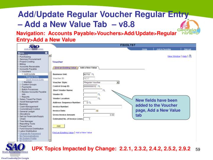 Add/Update Regular Voucher Regular Entry – Add a New Value Tab  – v8.8