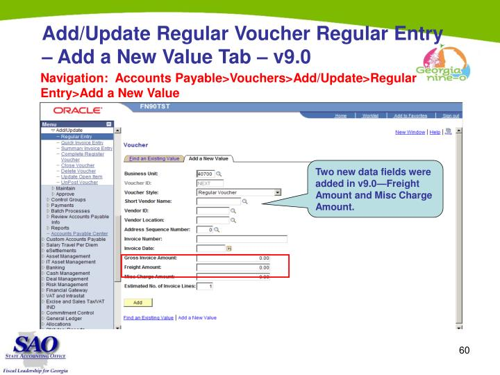 Add/Update Regular Voucher Regular Entry – Add a New Value Tab – v9.0