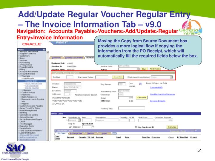 Add/Update Regular Voucher Regular Entry – The Invoice Information Tab – v9.0