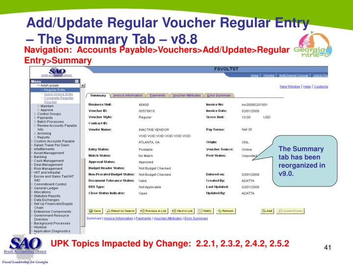 Add/Update Regular Voucher Regular Entry – The Summary Tab – v8.8