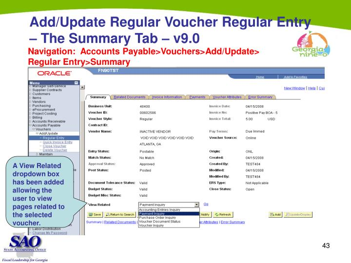 Add/Update Regular Voucher Regular Entry – The Summary Tab – v9.0