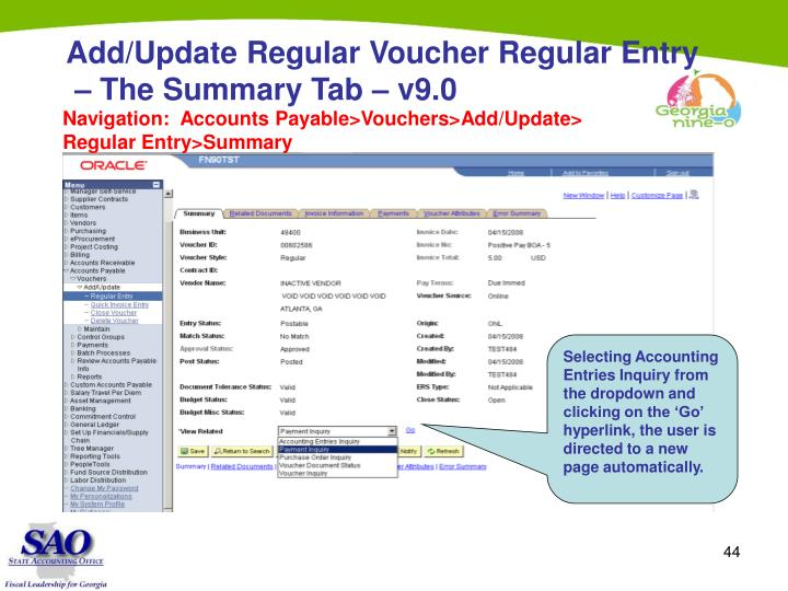 Add/Update Regular Voucher Regular Entry
