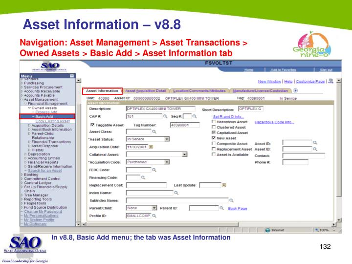 Navigation: Asset Management > Asset Transactions > Owned Assets > Basic Add > Asset Information tab