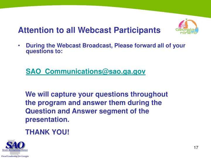 Attention to all Webcast Participants