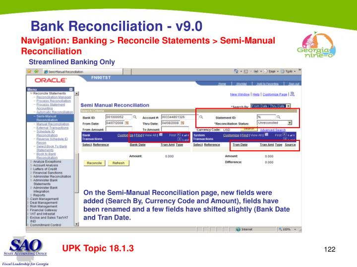 Navigation: Banking > Reconcile Statements > Semi-Manual Reconciliation