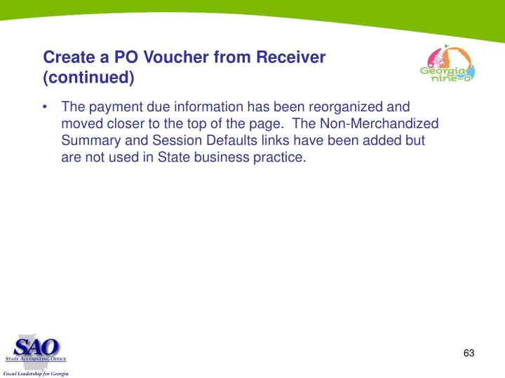Create a PO Voucher from Receiver (continued)