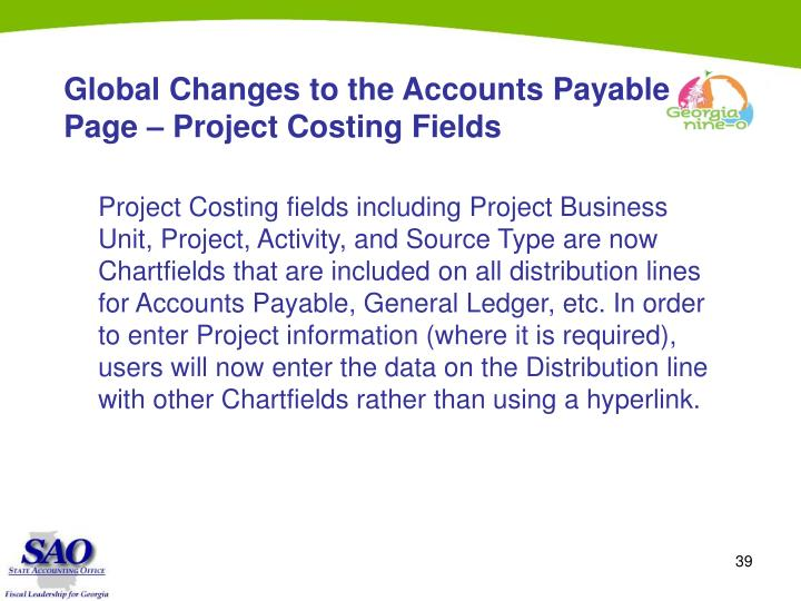 Global Changes to the Accounts Payable Page – Project Costing Fields