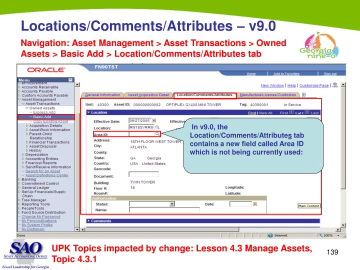 Navigation: Asset Management > Asset Transactions > Owned Assets > Basic Add > Location/Comments/Attributes tab