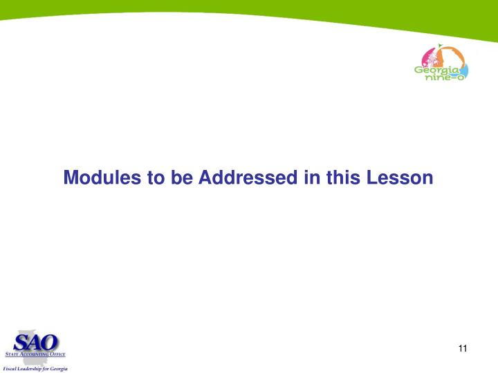 Modules to be Addressed in this Lesson