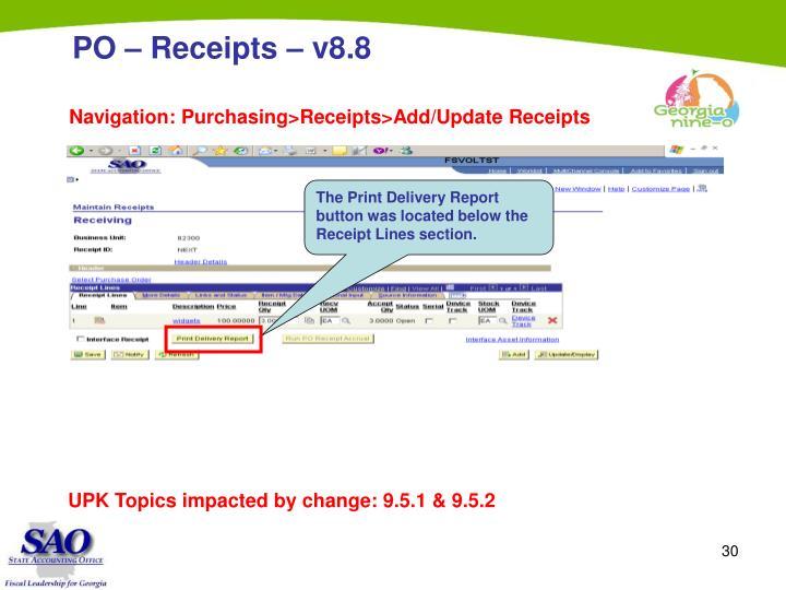 PO – Receipts – v8.8