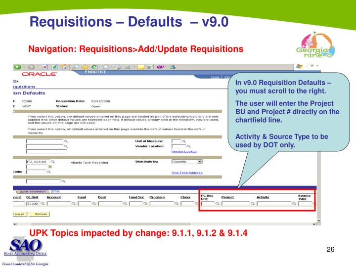 Requisitions – Defaults  – v9.0
