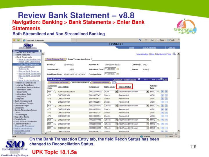 Navigation: Banking > Bank Statements > Enter Bank Statements