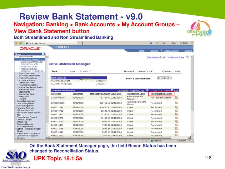 Navigation: Banking > Bank Accounts > My Account Groups – View Bank Statement button