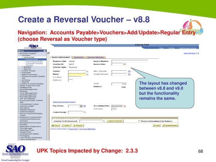 Create a Reversal Voucher – v8.8