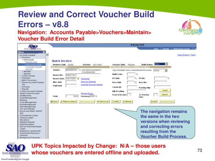 Review and Correct Voucher Build Errors – v8.8