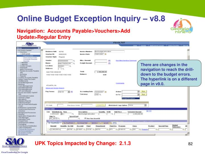 Online Budget Exception Inquiry – v8.8