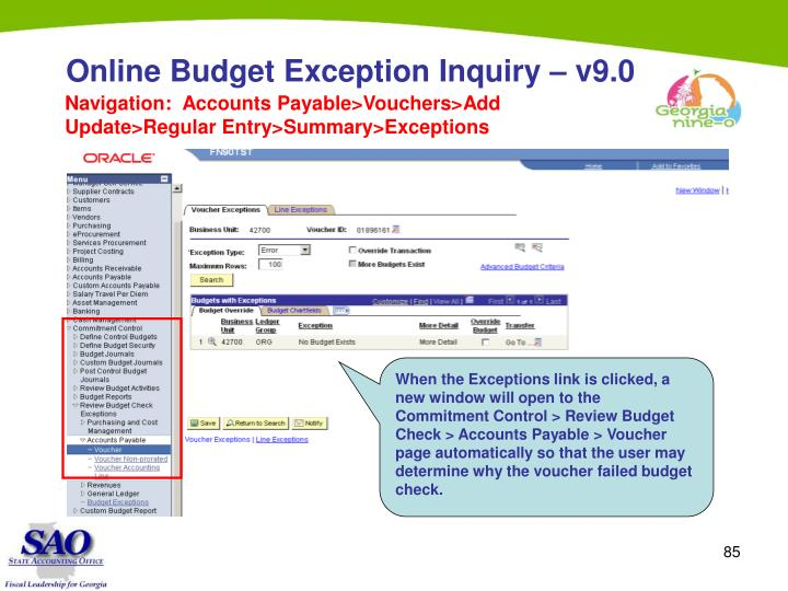 Online Budget Exception Inquiry – v9.0