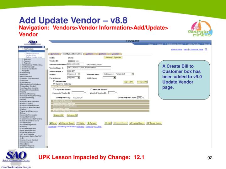 Add Update Vendor – v8.8