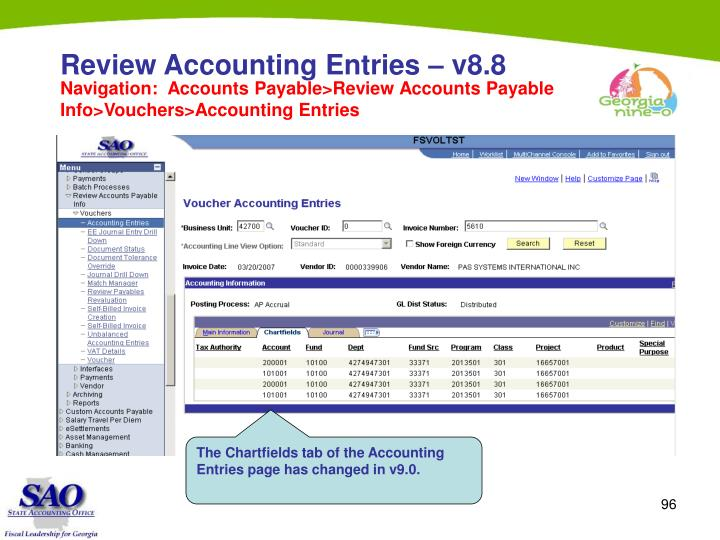 Review Accounting Entries – v8.8
