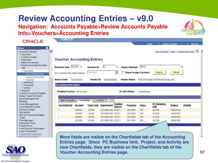 Review Accounting Entries – v9.0