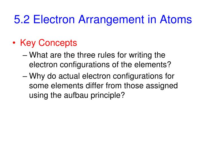 5.2 Electron Arrangement in Atoms