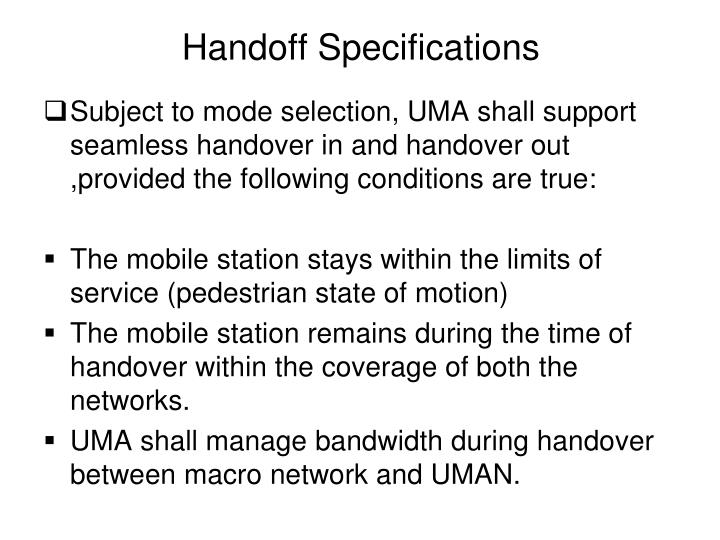 Handoff Specifications