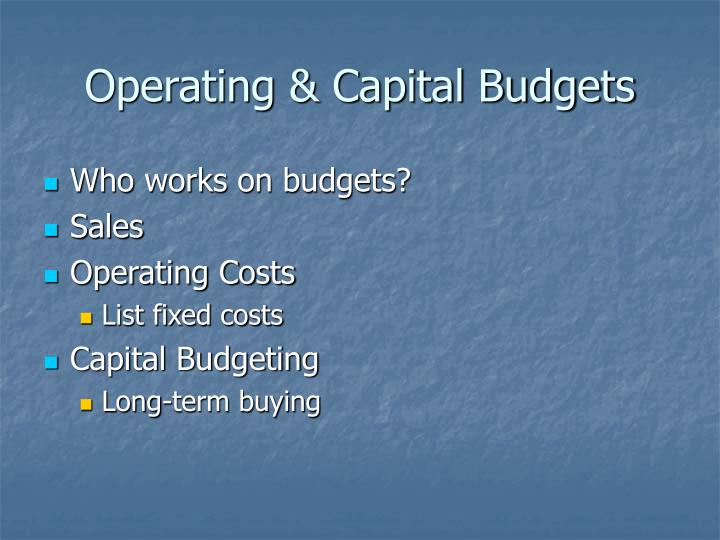 Operating & Capital Budgets