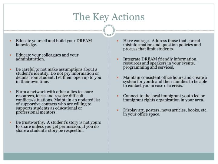 The Key Actions