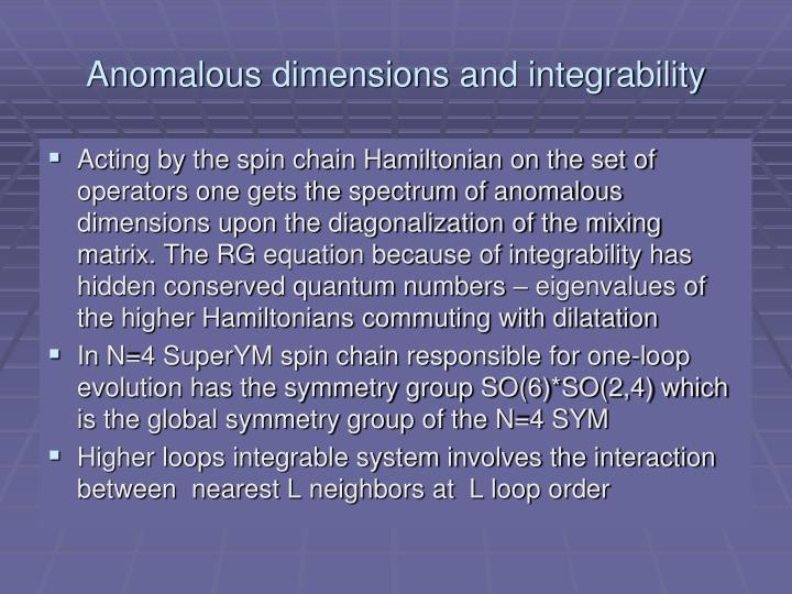 Anomalous dimensions and integrability