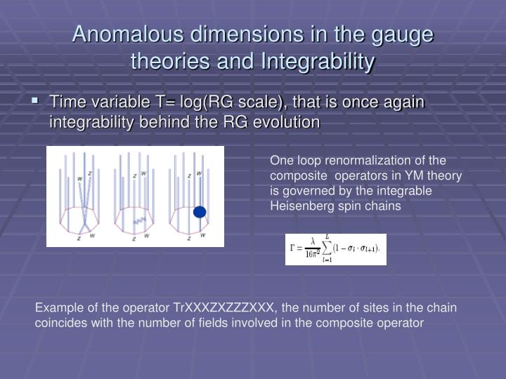Anomalous dimensions in the gauge theories and Integrability