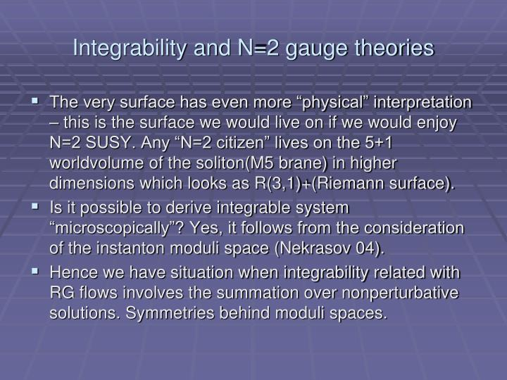 Integrability and N=2 gauge theories