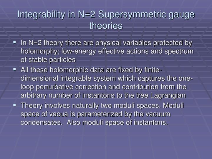 Integrability in N=2 Supersymmetric gauge theories