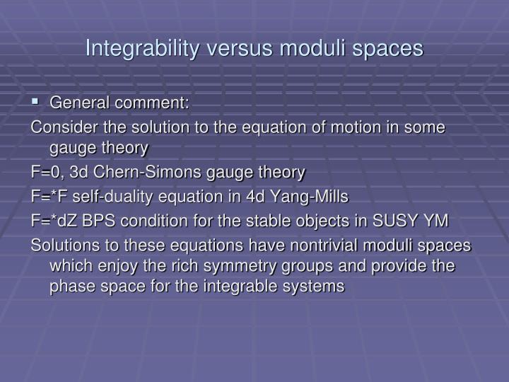 Integrability versus moduli spaces