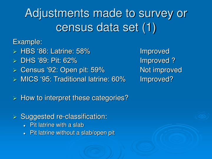 Adjustments made to survey or census data set (1)