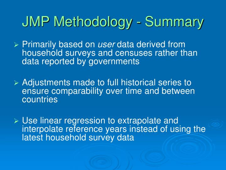 JMP Methodology - Summary