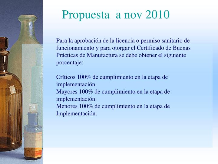 Propuesta  a nov 2010
